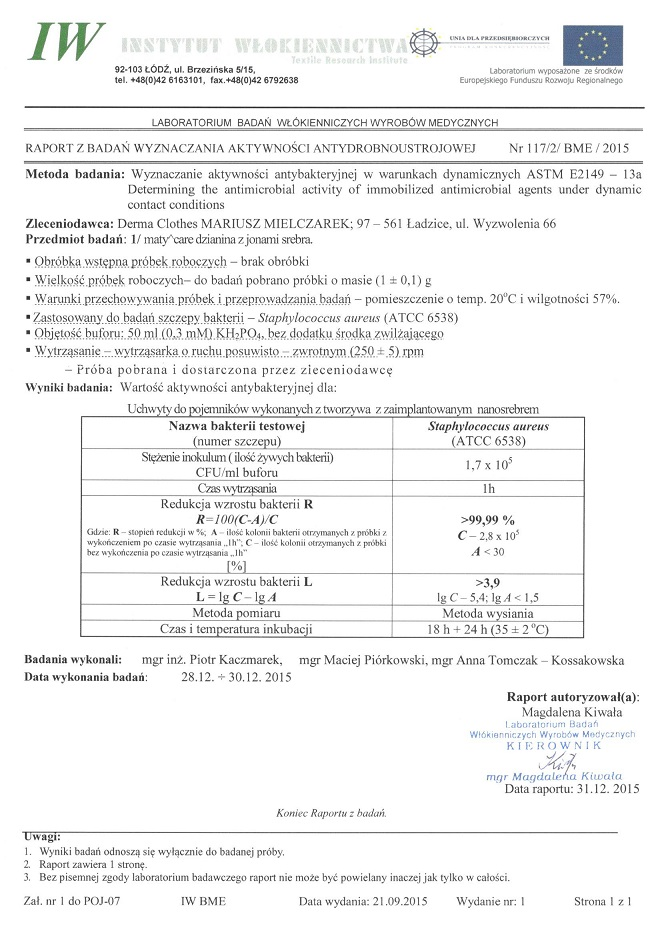 Staphylococcus aureus Instytut Włókiennictwa